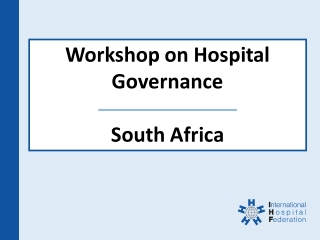 Hospital Governance - National Department of Health, South Africa